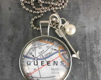 Map Pendant Necklace Queens New York NYC with arrow charm