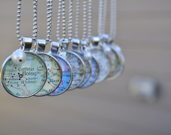 Custom Map Pendant Necklace- Choose your map location