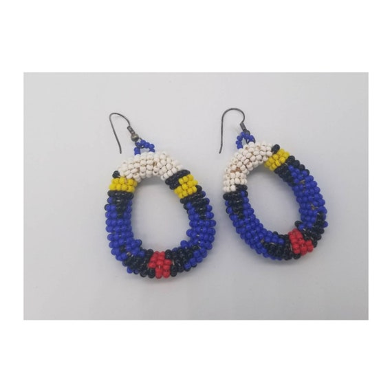 Vintage 70's Native Beaded Hoop Earrings
