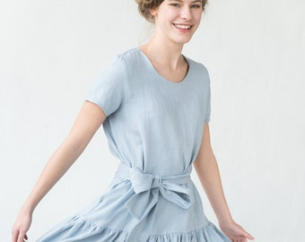 caf9ae964a8dd Linen Midi Dress, Flare Dress, Belt Dress, Linen Clothing, Pocket Dress, Summer  Dress, Loose Dress, Boho Linen Dress, Oversize Dress