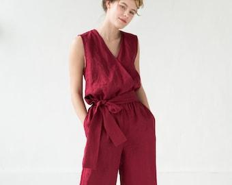 e4f9d1f5b63e LeMuse red PARIS linen jumpsuit