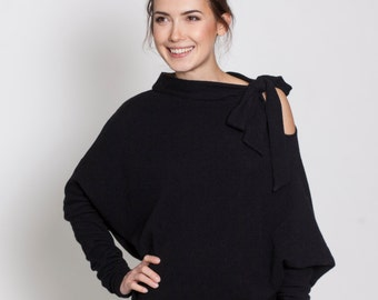 Party sweater | Sweater with bow | Simple sweater | LeMuse black sweater