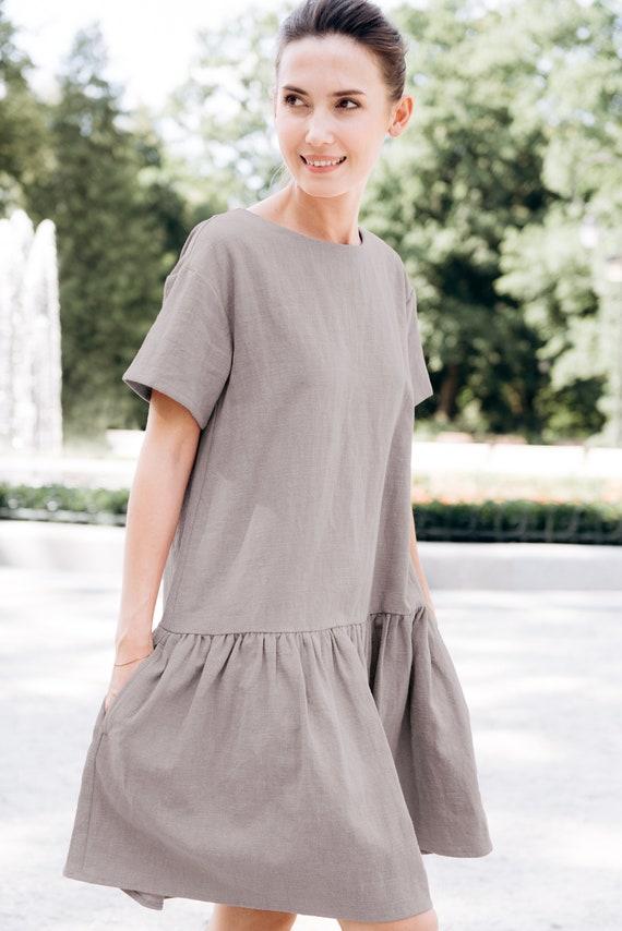ede215b4ab LeMuse gray MAGIC linen dress