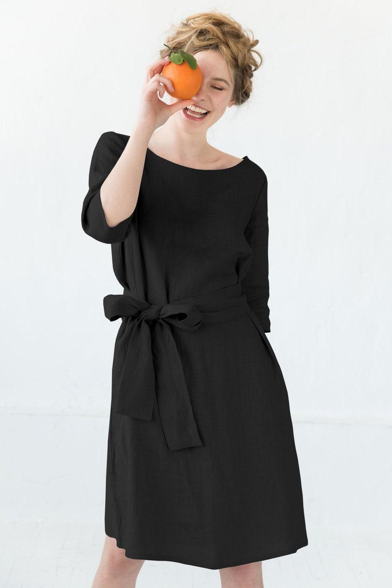 Belt Dress Linen Clothes Holiday Dress Midi Dress Petite Dress Elegant Dress Oversize Summer Linen Dress Loose Dress Black Dress