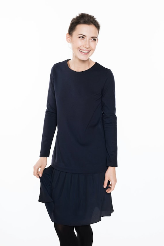 silk dress with silk dress Navy Lovely Dress LeMuse with dress wC7PPqzF