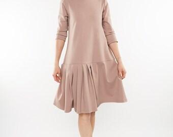 Blouson Dress, Pink Dress, Unique Dress, Sweater Dress, Flared Dress, Knee Length Dress, Loose Dress, Minimalist Dress, Party Dress