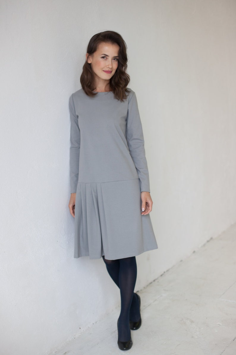 1920s Day Dresses, Tea Dresses, Mature Dresses with Sleeves Light Gray Dress Flare Dress Long Sleeve Dress Business Dress Winter Dress Loose Dress Pleated Dress Minimalist Clothing Midi Dress $88.90 AT vintagedancer.com