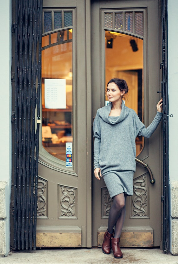 SPECIAL CUT gray lab dress DESIGNER sweater LeMuse HWR1qTq