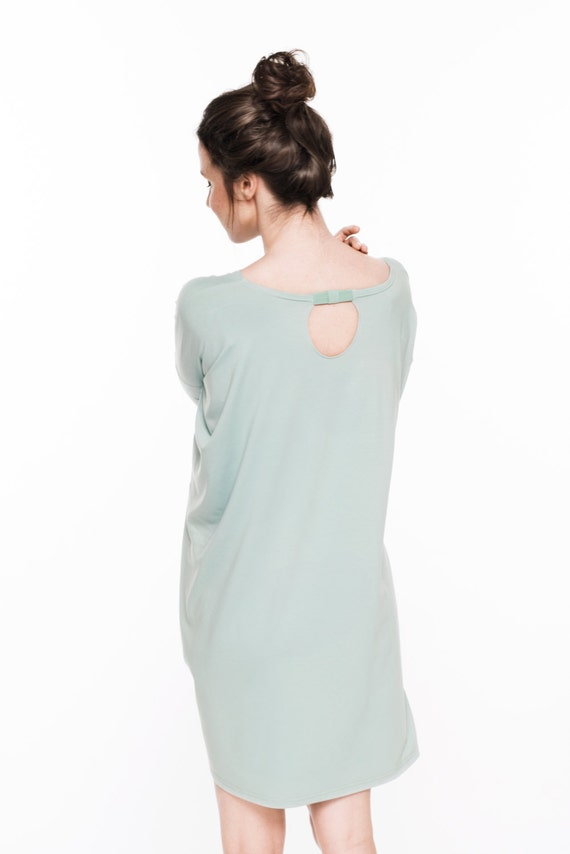 LeMuse Summer back with on little onesize the bow viscose dress mint r7tvqr