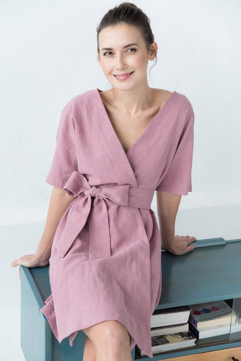 Le Muse Dusty Rose Chloe Linen Dress by Etsy