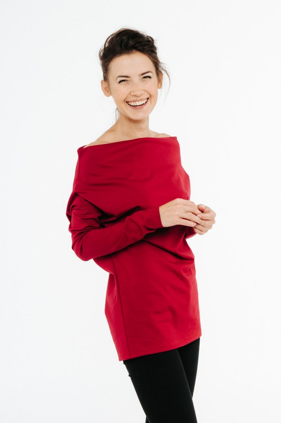 Long top sleeve top LeMuse sleeve long top Casual Red top red ZrZSFvw