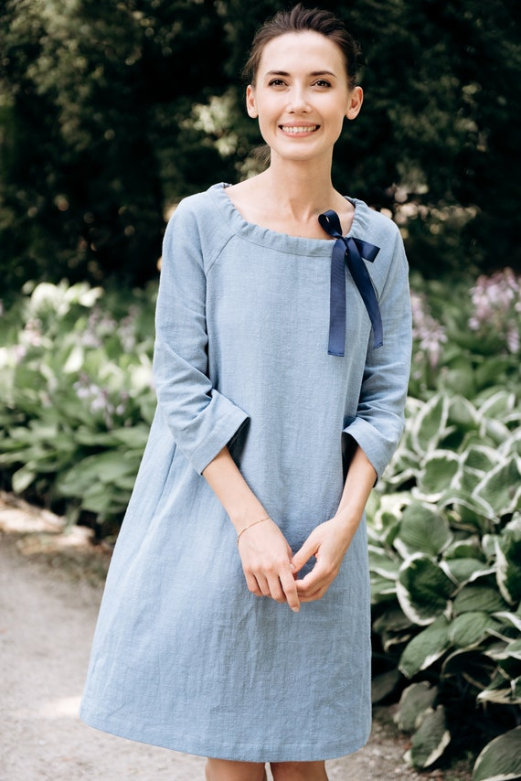Blue dress LeMuse dress summer linen Washed dress summer linen linen dress Linen qT8EPfx
