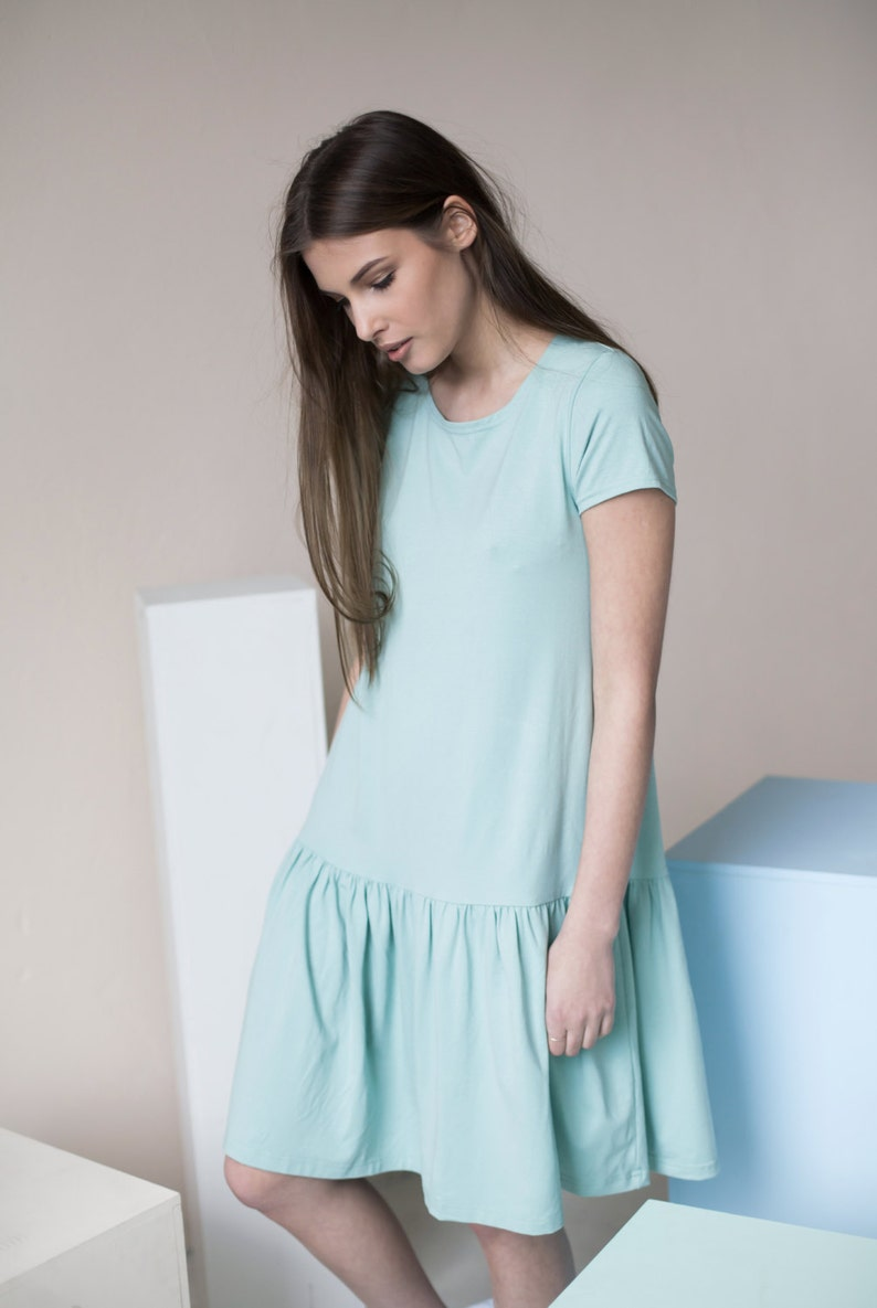 1920s Day Dresses, Tea Dresses, Mature Dresses with Sleeves Women Mint Dress Loose Fit Dress Flare Dress Frill Dress Short Sleeve Dress Maternity Dress Cotton Dress Minimalist Clothing $81.20 AT vintagedancer.com