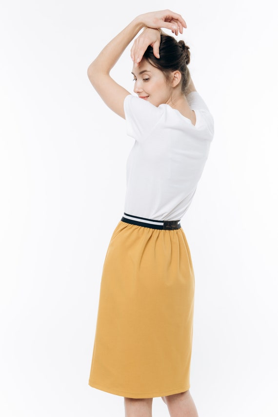 A skirt yellow line Yellow skirt Pocket skirt skirt LeMuse qx5OUO41