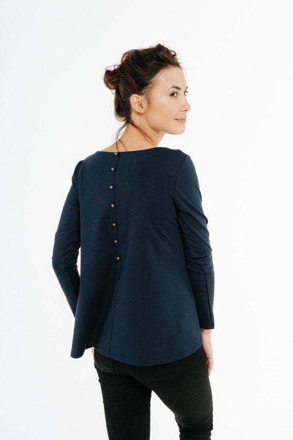 Loose Blue button LeMuse Back top top blue blouse blouse pvwxprq