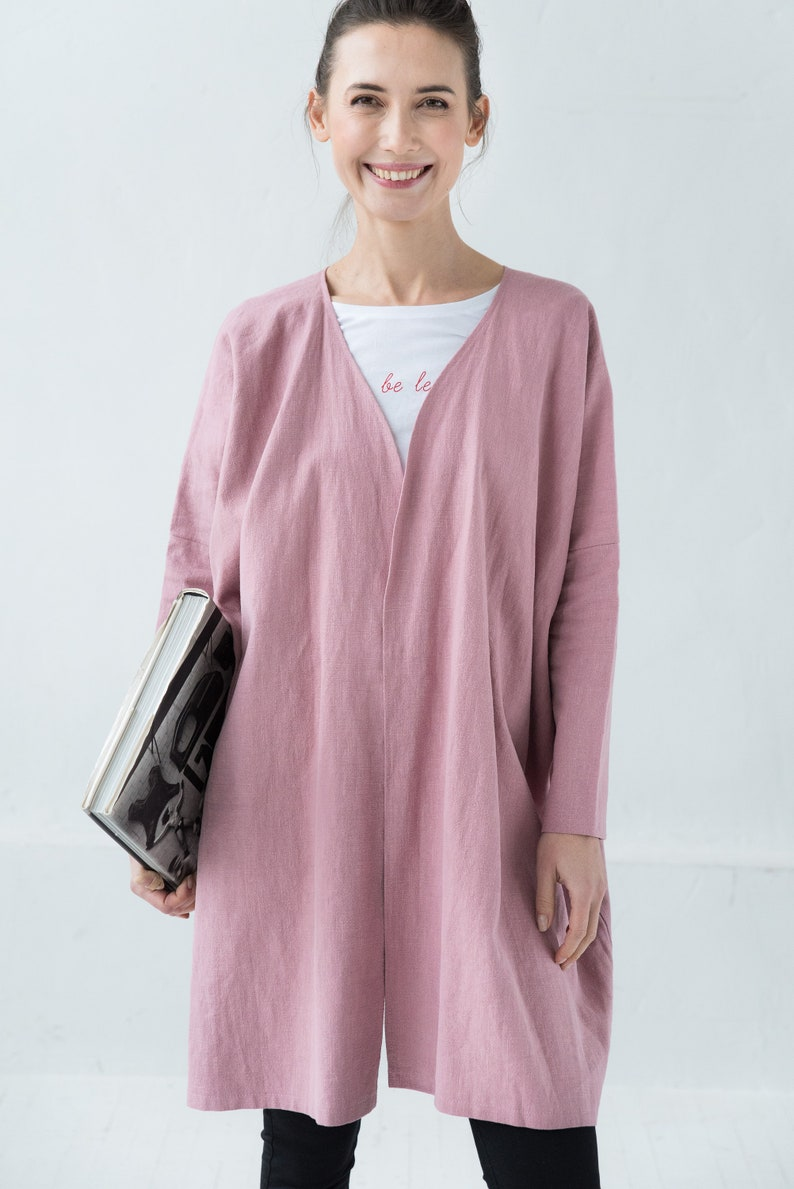 d94ce1d2f77 Pink Linen Cardigan Kimono Cardigan Linen Clothing Washed