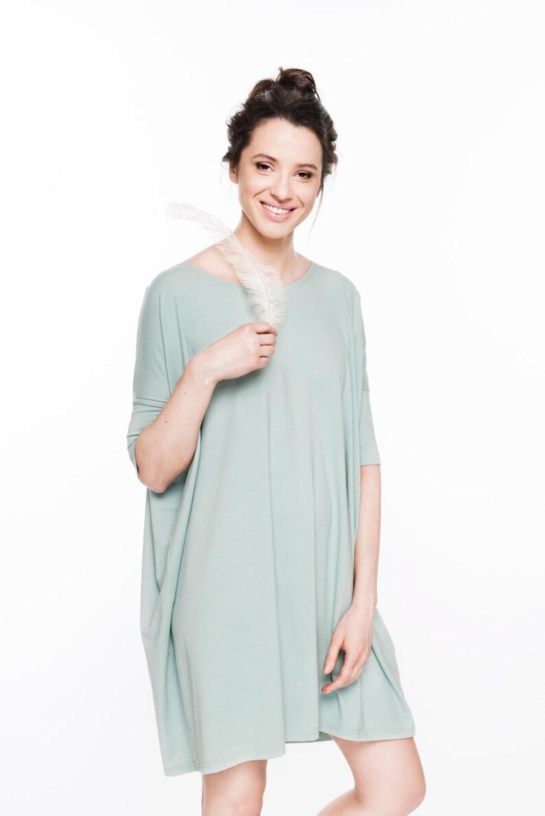 Summer Dress Loose Dress Blue Dress Casual Dress Oversize Dress Minimalist Clothing Women Mint Dress Viscose Dress Day Dress
