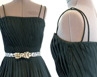 9108ebf8e87 Vintage 1960s Luisa Spagnoli LBD Pleated Couture Cocktail Dress XS