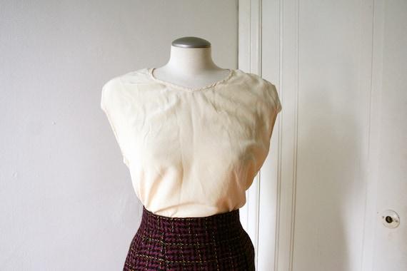 80s White Silk Blouse Off-White Silk Top Sleeveles