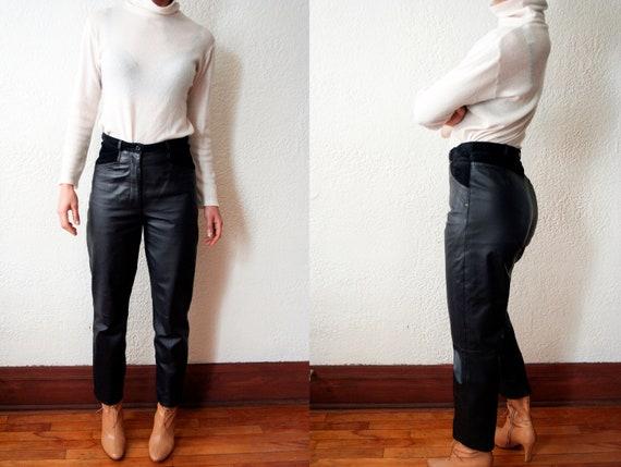 80s Leather Pants 27|Black Leather Pants|Leather P