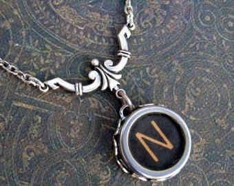Typewriter Key Necklace - Simple Elegance - Letter N