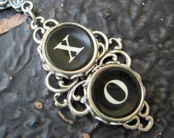 X and O Hugs and Kisses Antique Typewriter Key Pendant