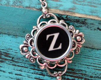 Typewriter Key Jewelry - Necklace - Letter Initial Z