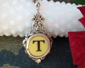 Typewriter Key Jewelry - Typewriter Key Initial Necklace Letter T
