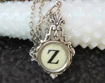 Typewriter Key Jewelry - Typewriter Necklace - Initial Z - Typewriter Charm - Vintage Key