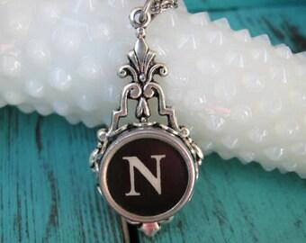 Typewriter Key Jewelry - Typewriter Necklace Letter N