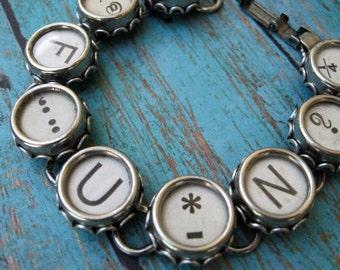Typewriter Key Bracelet - Antique Typewriter Jewelry - FUN  B780