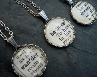 Word Necklace - Dictionary Necklace - Wander - Round Pendant