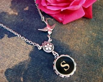 Typewriter Jewelry, Antique Typewriter Key Necklace Letter S with Bird, Typewriter Charm Necklace