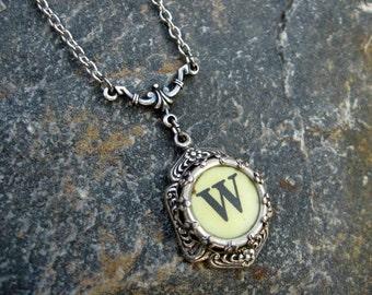 Typewriter Jewelry - Antique Typewriter Key Necklace - Letter W