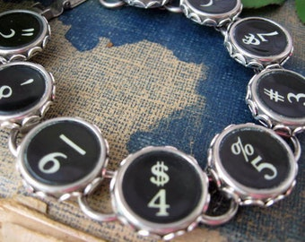 Typewriter Key Bracelet, Antique Typewriter Jewelry, Writer Gift, Teacher Gift,  Number Keys B201