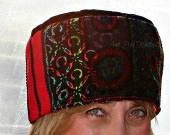 Hat Pillbox Hat Print Velvet Hat