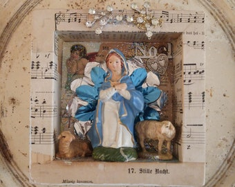 Madonna art, Madonna shadow box, Virgin Mary assemblage, religious art shrine, USA made, small Madonna collage assemblage, art for gifts