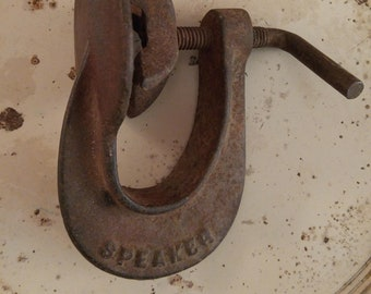 Cast iron clamp, industrial hardware clamp, vintage tire patch clamp, Made by SPEAKER, cast iron clamp, rusty relic, assemblage parts kit