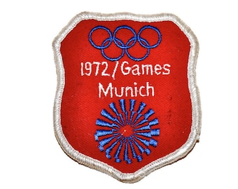 Vintage 70s 1972 Munich Olympic Games Summer Germany Olympics Sew On Patch Rare Fan Apparel & Souvenirs