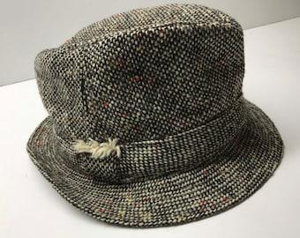 Vintage Men s Hand Crafted David Hanna   Sons Tweed Bucket Hat Sz 7 1 8 LL  Bean bd7a0451f4b0