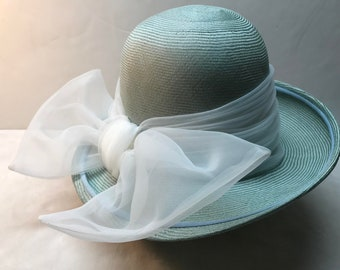 3cc97e74a3157 Vintage Ladies 60S YSL Yves SAINT LAURENT Woven Hat With Bow Easter Chic  Stylish