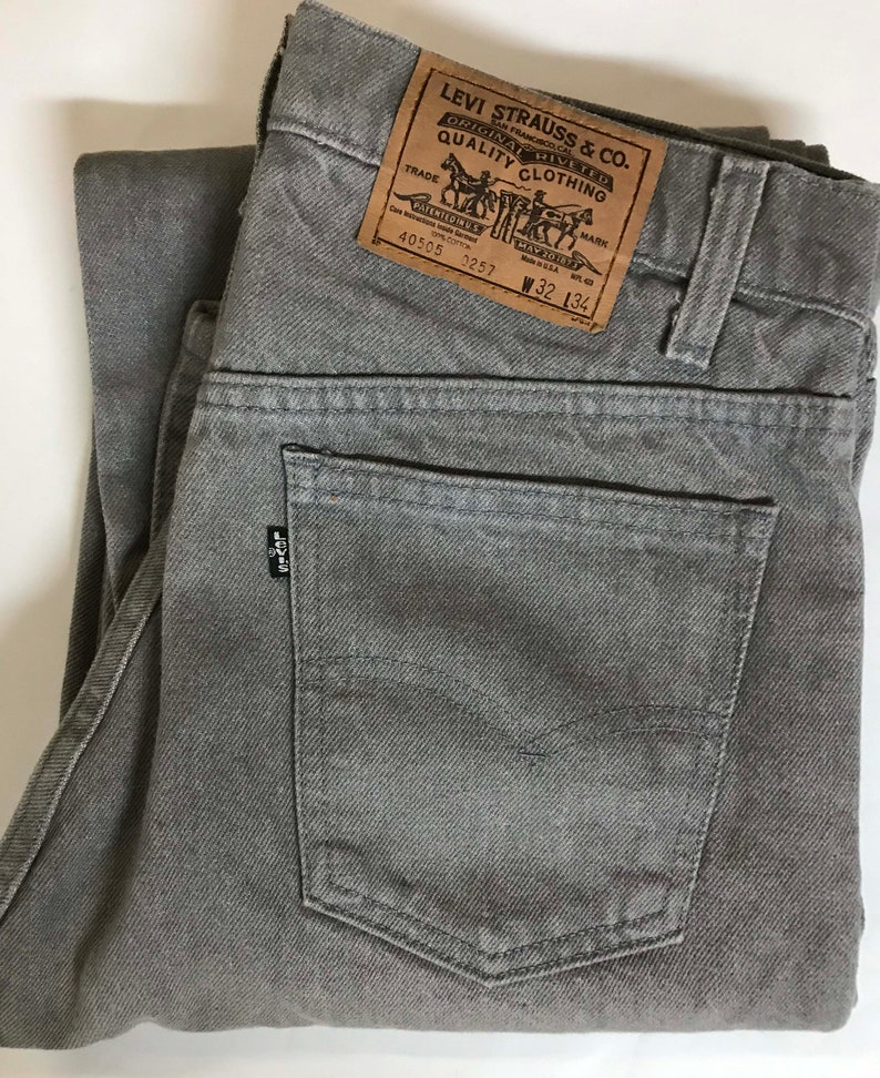 1ba8a601921 Vintage Men's 80s Levi's 505 Gray Black Tab Denim | Etsy