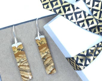 Picture Jasper Drop Earrings