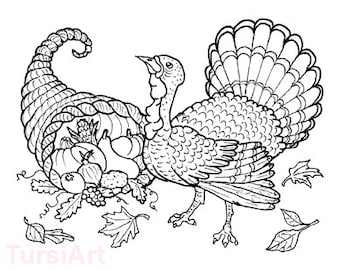 Thanksgiving Turkey And Cornucopia 12 Coloring Postcards A Dozen Fall Harvest Cards You Can Color Illustration By Rose Tursi Of Tursiart