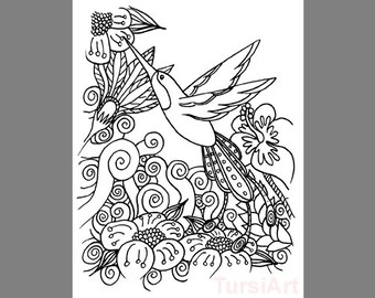 12 Humming Bird Coloring Postcards A Dozen Cards To Color And Mail Spring Garden Flowers By TursiArt Hummingbird Page Mailart