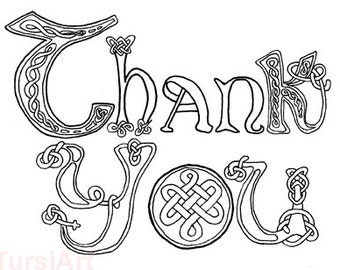 12 Thank You Coloring Postcards Celtic Knots Script One Dozen Cards To Color And Mail Page Mailart By TursiArt