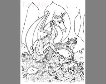12 Dragon Coloring Postcards A Dozen Cards To Color And Mail Gold Hoarding Cave Page Mailart By Tursiart