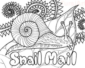 Snail Mail One Dozen Postcards You Can Color And 12 Coloring Cards For Mailart Garden Line Art By TursiArt Fairy Page