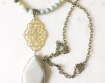 Long Turquoise and Brown Amazonite Necklace, Layering necklace, Bohemian Jewelry, Gemstone necklace