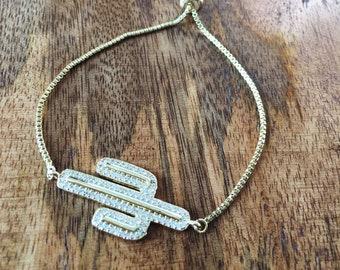 Gold and Cubic Zirconia Cactus Bracelet, Micro Pave Gold Tone Bracelet, South Western Jewelry, Adjustable Slider Bracelet, Box Chain